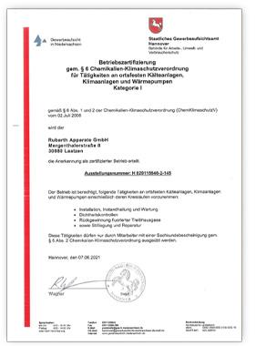 RUMED Betriebszertifizierung-Gewerbeaufsicht Zertifikat